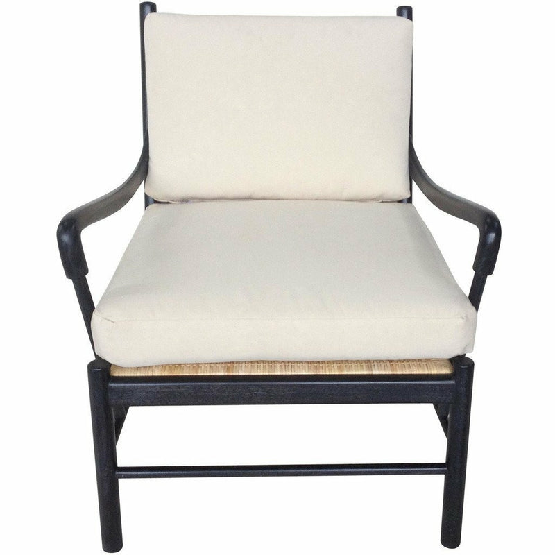 Noir Kevin Lounge Chair, Mahogany, Black, White Cotton-Lounge Chairs-Noir Furniture-Heaven's Gate Home, LLC