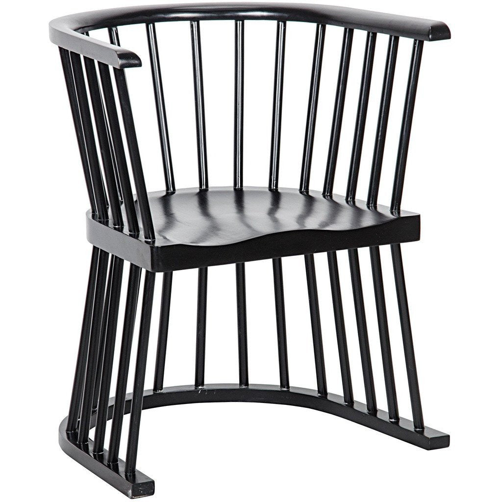Noir Bolah Windsor Style Dining Chair, Hand Rubbed Black-Dining Chairs-Noir Furniture-Heaven