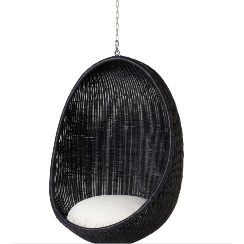 Sika-Design Icons Egg Nanny Ditzel Hanging Chair w/ Cushion, Indoor, Natural or Black-Hanging Chairs-Sika Design-Black Chair w/ Tempotest White Canvas Cushion with 5 Foot Chain-Heaven's Gate Home