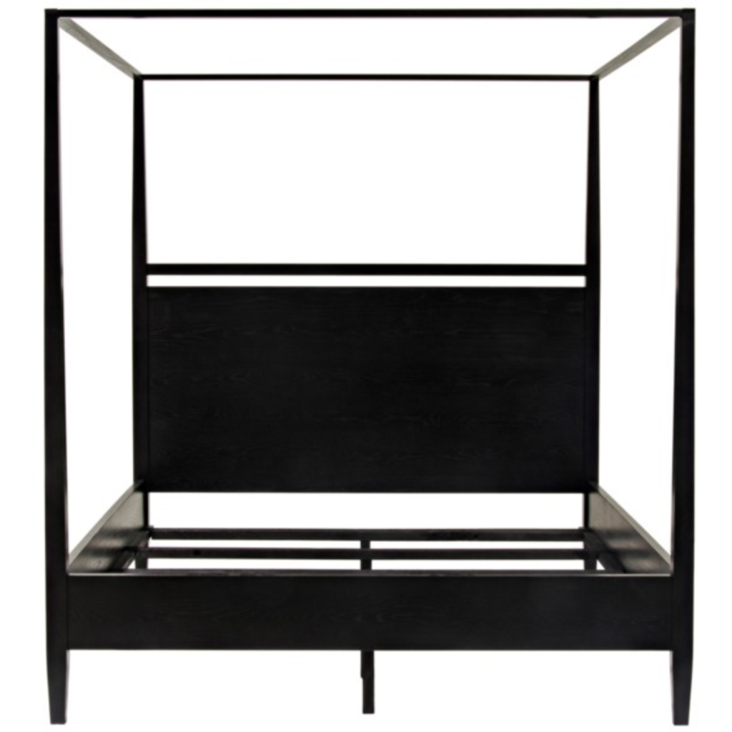 CFC Modern Distressed Oak, Black Shellac 4-Poster Bed, King *Quick Ship*-Beds-CFC-Heaven