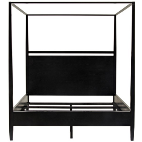CFC Modern Distressed Oak, Black Shellac 4-Poster Bed, Queen *Quick Ship*-Beds-CFC-Heaven's Gate Home