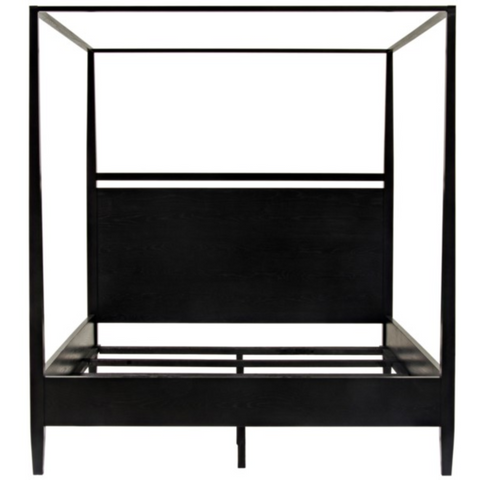 CFC Modern Distressed Oak, Black Shellac 4-Poster Bed, Queen *Quick Ship*