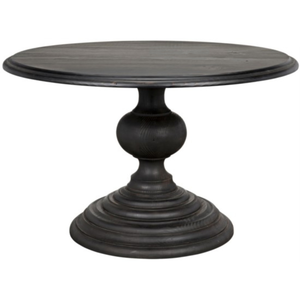 "CFC Adaliz Reclaimed Lumber Dining Table, Black Wax, 48"" Round *Quick Ship*-Dining Tables-CFC-Heaven"