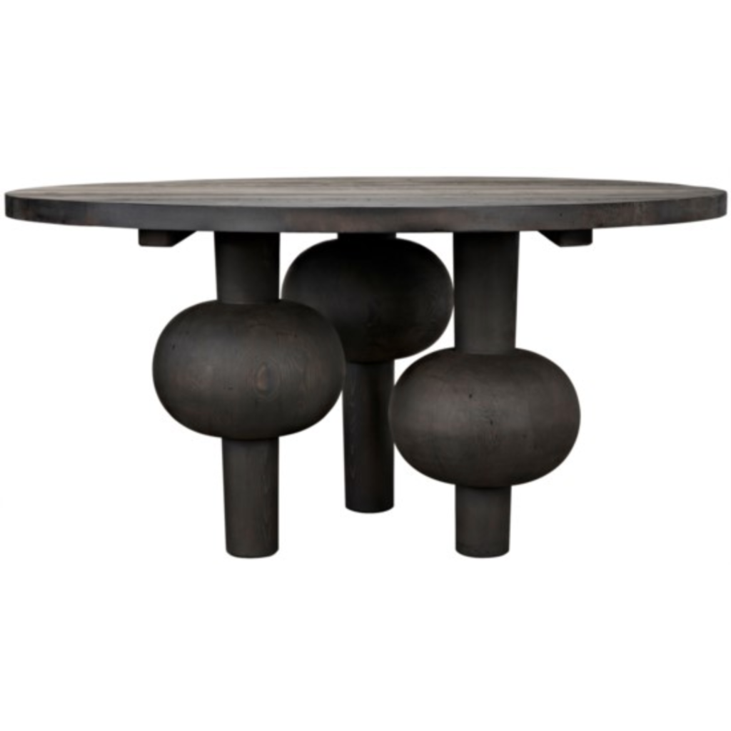 "CFC Julie Reclaimed Lumber Dining Table, Black Wax, 60"" Round *Quick Ship*-Dining Tables-CFC-Heaven"
