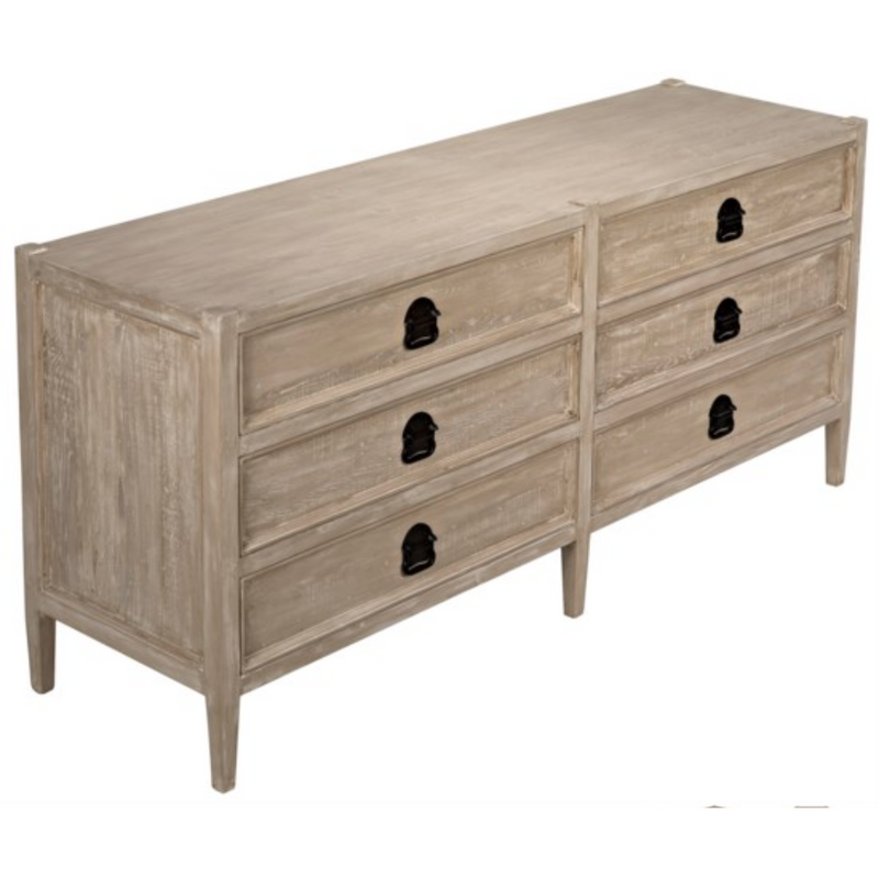CFC Lewis 6-Drawer Reclaimed Lumber Dresser, Gray Wash *Quick Ship*-Dressers-CFC-Heaven's Gate Home