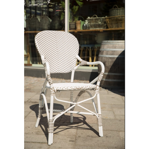 Sika-Design Alu Affaire Isabell Rattan Dining Arm Chair, Outdoor-Dining Chairs-Sika Design-White / Cappuccino Dots-Heaven's Gate Home