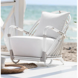 Sika Design Exterior Arne Jacobsen Charlottenborg Chair w/ Cushion, Outdoor-Lounge Chairs-Sika Design-Dove White-Tempotest White Canvas Seat and Back Cushion-Heaven's Gate Home