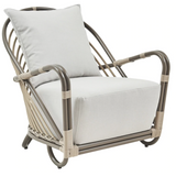 Sika Design Exterior Arne Jacobsen Charlottenborg Chair w/ Cushion, Outdoor-Lounge Chairs-Sika Design-Moccachino-Sunbrella Sailcloth Seagull Seat and Back Cushion-Heaven's Gate Home
