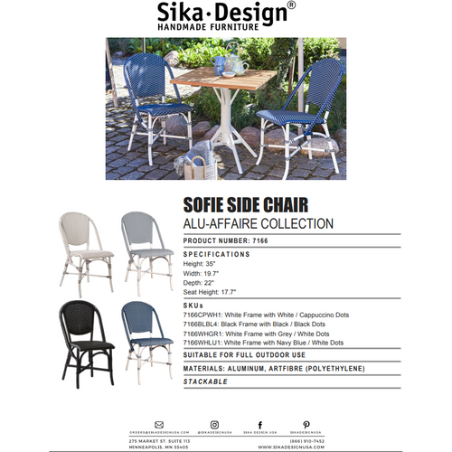 Sika-Design Alu Affaire Sofie White Aluminum Dining Side Chair, Outdoor-Dining Chairs-Sika Design-Heaven's Gate Home