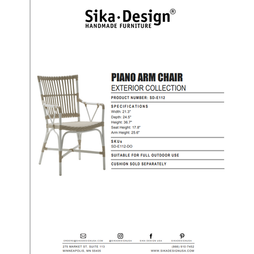 Sika Design Exterior Piano Dining Arm Chair, Outdoor-Dining Chairs-Sika Design-Dove White-Heaven's Gate Home