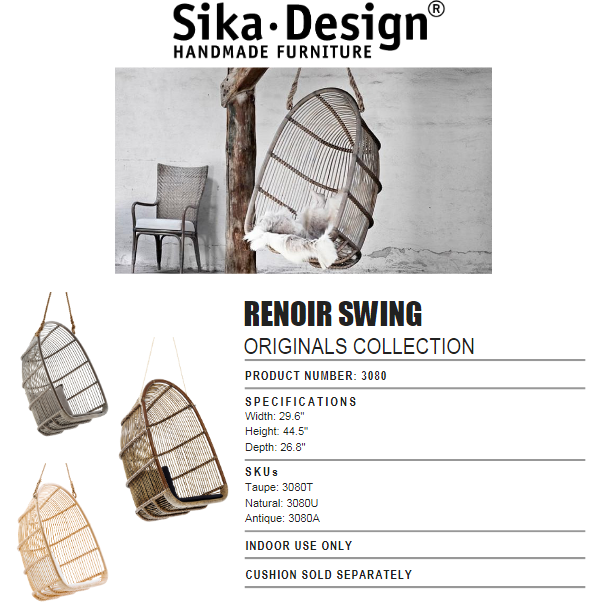 Sika-Design Originals Rattan Renoir Swing/Hanging Chair w/ Cushion, Indoor-Hanging Chairs-Sika Design-Heaven's Gate Home