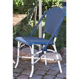 Sika-Design Alu Affaire Sofie White Aluminum Dining Side Chair, Outdoor-Dining Chairs-Sika Design-White Frame // Navy Blue / White Dots-Heaven's Gate Home