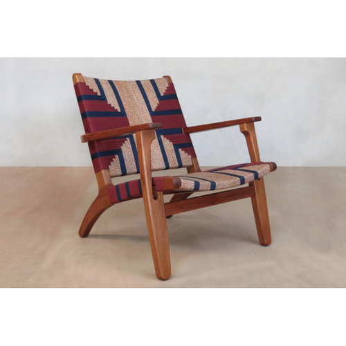 Masaya Arm Chair, Pattern Manila/Royal Mahogany-Lounge Chairs-Masaya & Co.-Momotombo Manila-Heaven's Gate Home, LLC
