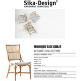 Sika-Design Affaire Monique Rattan Side Chair, Indoor/Covered Outdoor-Dining Chairs-Sika Design-White / Cappuccino Dots-Heaven's Gate Home