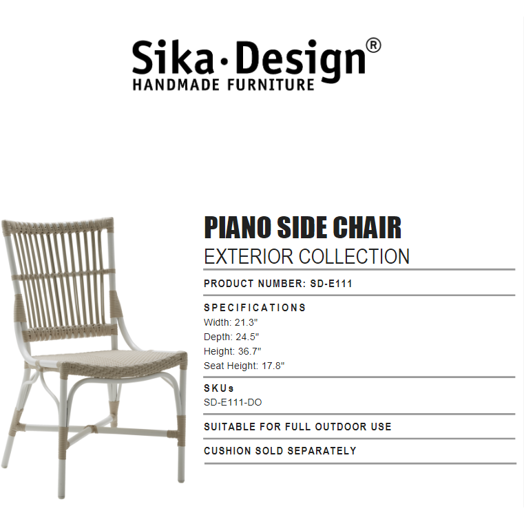 Sika-Design Exterior Piano Dining Side Chair, Outdoor-Dining Chairs-Sika Design-White-Heaven's Gate Home