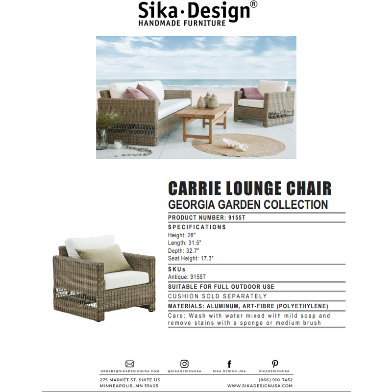 Sika-Design Georgia Garden Carrie Lounge Chair w/ Cushion, Outdoor-Lounge Chairs-Sika Design-Antique-Tempotest White Canvas Cushion-Heaven's Gate Home