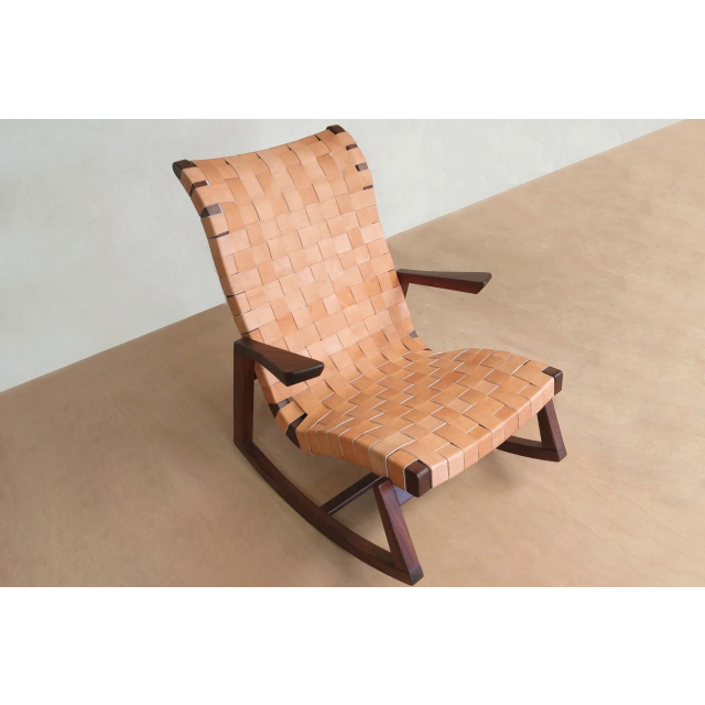 Masaya Amador Rocking Chair, Leather-Rocking Chairs-Masaya & Co.-Heaven's Gate Home