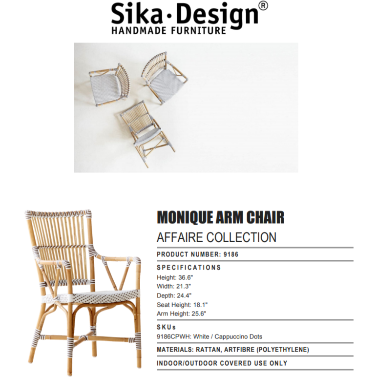 Sika-Design Affaire Monique Rattan Arm Chair, Indoor/Covered Outdoor-Dining Chairs-Sika Design-White / Cappuccino Dots-Heaven's Gate Home