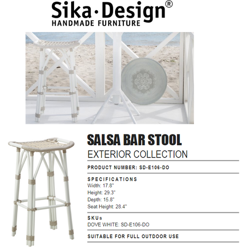 Sika-Design Exterior Salsa Bar Stool, Outdoor-Bar Stools-Sika Design-Dove White-Heaven's Gate Home