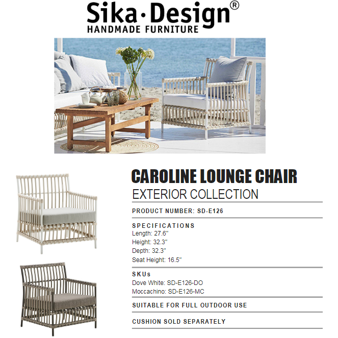 Sika-Design Exterior Caroline Lounge Chair w/ Cushion, Outdoor-Lounge Chairs-Sika Design-Heaven's Gate Home