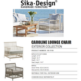 Sika-Design Exterior Caroline Lounge Chair w/ Cushion, Outdoor - Moccachino-Lounge Chairs-Sika Design-Moccachino-Sunbrella Sailcloth Seagull Seat and Back Cushion-Heaven's Gate Home