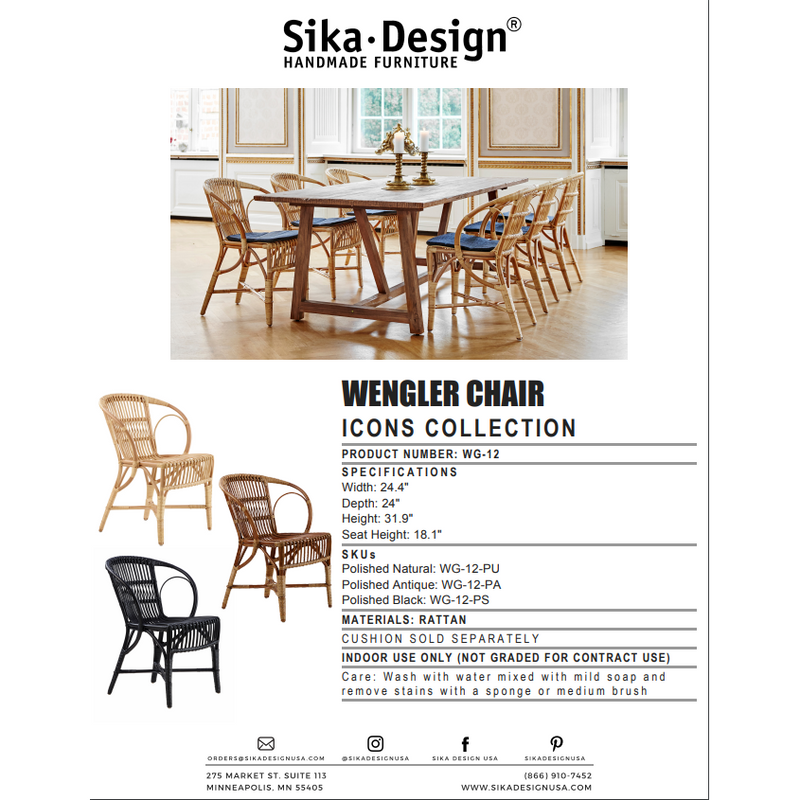 Sika-Design Icons Rattan Wengler Dining Chair, Indoor-Dining Chairs-Sika Design-Heaven's Gate Home