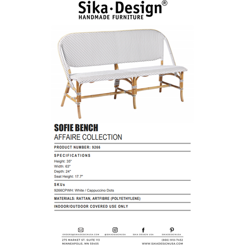 Sika Design Affaire Sofie Bench, Indoor/Covered Outdoor-Benches-Sika Design-White / Cappuccino Dots-Heaven's Gate Home