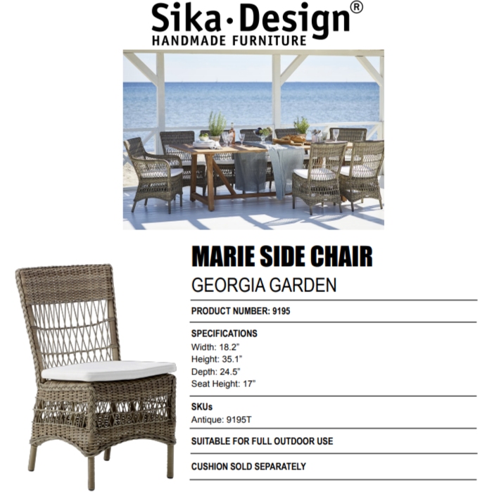 Sika-Design Georgia Garden Marie Dining Side Chair w/ Cushion, Outdoor-Dining Chairs-Sika Design-Antique-Polyester Snow White Cushion-Heaven's Gate Home
