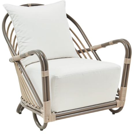 Sika Design Exterior Arne Jacobsen Charlottenborg Chair w/ Cushion, Outdoor-Lounge Chairs-Sika Design-Moccachino-Tempotest White Canvas Seat and Back Cushion-Heaven's Gate Home