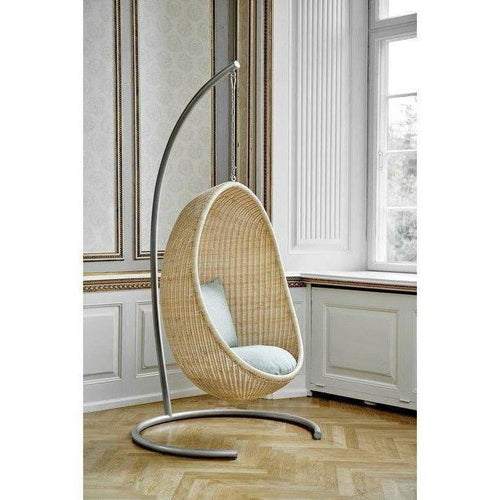 Sika-Design Icons Egg Nanny Ditzel Hanging Chair w/ Cushion, Indoor, Natural or Black-Hanging Chairs-Sika Design-Natural Chair w/ Sunbrella Sailcloth Seagull Cushion with Stand & Chain-Heaven's Gate Home