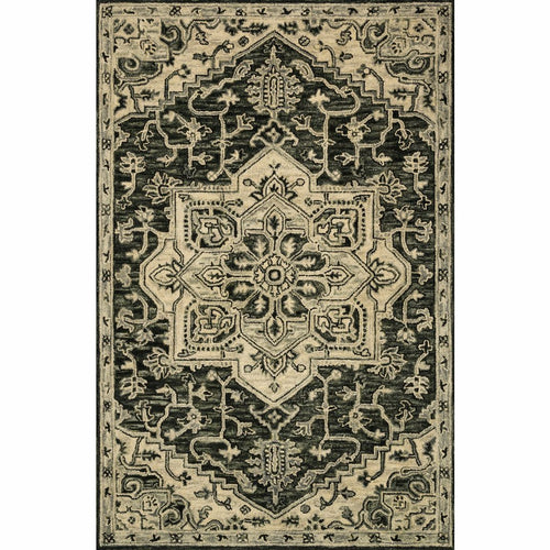 "Loloi Victoria VK-15 Traditional Hooked Area Rug-Rugs-Loloi-Charcoal-1'-6"" x 1'-6"" Sample-Heaven's Gate Home, LLC"