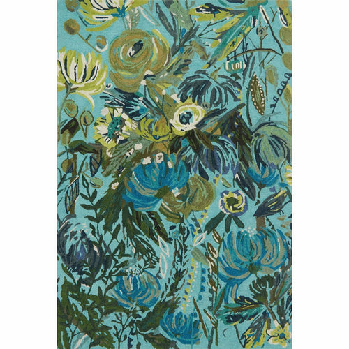 "Loloi Wild Bloom WV-03 Contemporary Hooked Area Rug-Rugs-Loloi-Aqua-1'-6"" x 1'-6"" Sample-Heaven's Gate Home, LLC"