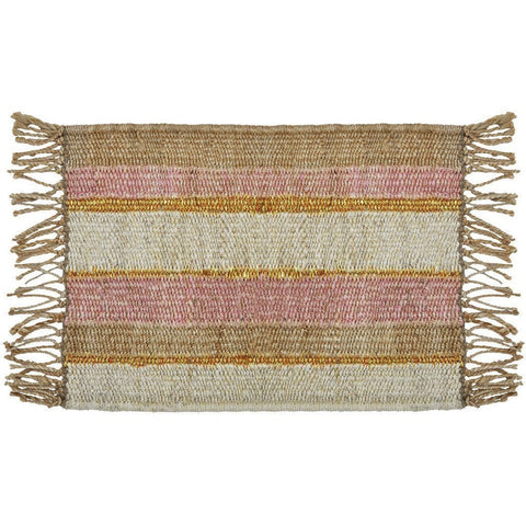 Langdon LTD Peachy Stripe Jute Doormat, Gold Threads and Fringe