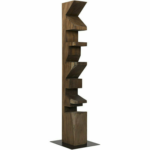 Noir Totem Teak Statue Bookcase, Natural-Bookcases-Noir Furniture-Heaven's Gate Home, LLC