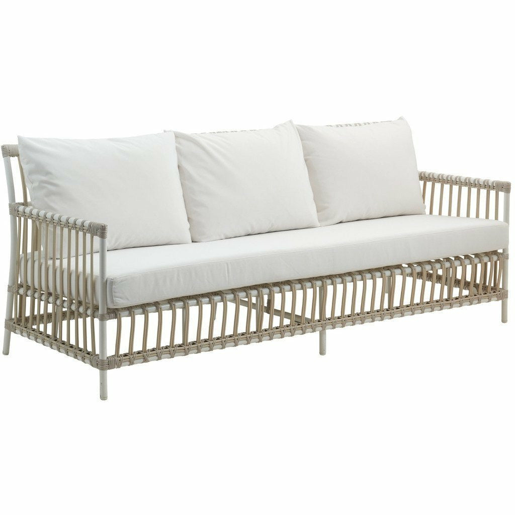 Sika-Design Exterior Caroline 3-Seater Sofa w/ Cushion, Outdoor-Sofas-Sika Design-Dove White-Tempotest White Canvas Seat and Back Cushions-Heaven's Gate Home