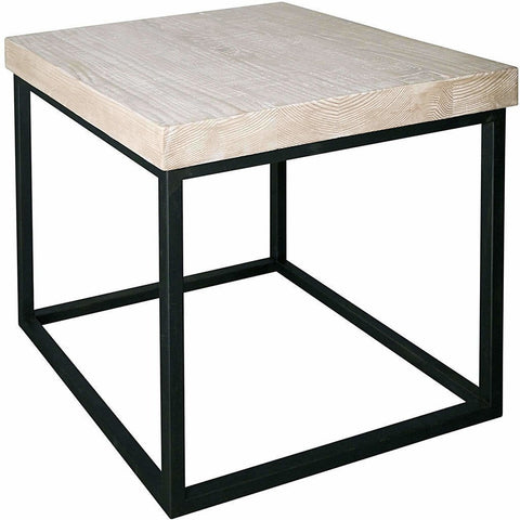 CFC Marin Reclaimed Wood/Steel Side Table, Gray Wash *Quick Ship*-Side Tables-CFC-Heaven's Gate Home