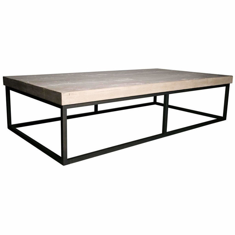 "CFC Marin Reclaimed Lumber/Steel Coffee Table, Gray Wash, 68"" L (Large) *Quick Ship*-Coffee/Cocktail Tables-CFC-Heaven's Gate Home"