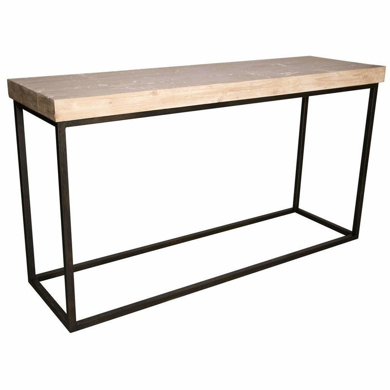 CFC Marin Reclaimed Lumber/Steel Console Table, Gray Wash *Quick Ship*-Console Tables-CFC-Heaven's Gate Home