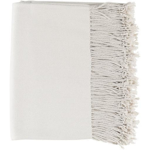 "Surya Chantel Woven Silk Throw with Tassels-Throws-Surya-Ivory-50"" x 60"" Throw-Heaven's Gate Home"