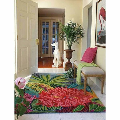 Company C Captiva Over-Sized Tropical Floral Island 100% Wool Rug