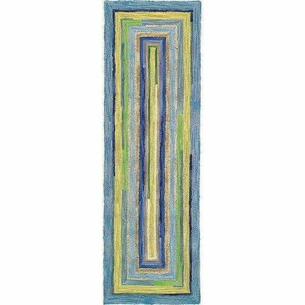 Company C Concentric Squares Hand-Tufted, 100% Wool Rug, Sky Blue-Rugs-Company C-3' x 8' Runner-Heaven's Gate Home