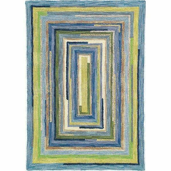 Company C Concentric Squares Hand-Tufted, 100% Wool Rug, Sky Blue-Rugs-Company C-4' x 6'-Heaven's Gate Home, LLC