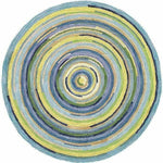 Company C Concentric Squares Hand-Tufted, 100% Wool Rug, Sky Blue-Rugs-Company C-7' Round-Heaven's Gate Home, LLC