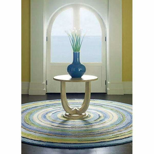 Company C Concentric Squares Hand-Tufted, 100% Wool Rug, Sky Blue-Rugs-Company C-Heaven's Gate Home, LLC