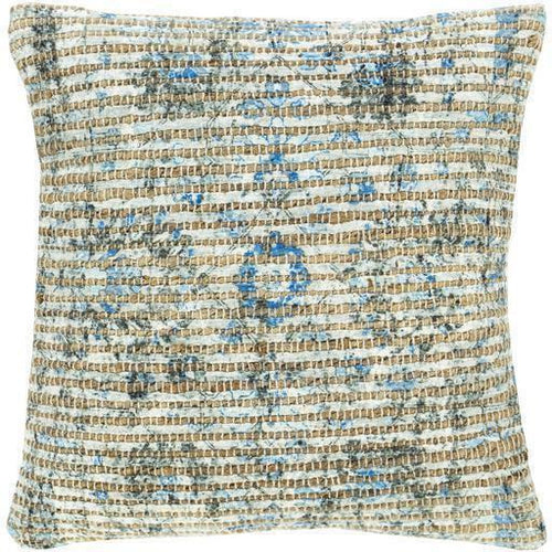 "Surya Coventry CVN-001 Jute Global Pillow-Pillows-Surya-Blue-18"" x 18"" Pillow-Heaven's Gate Home"