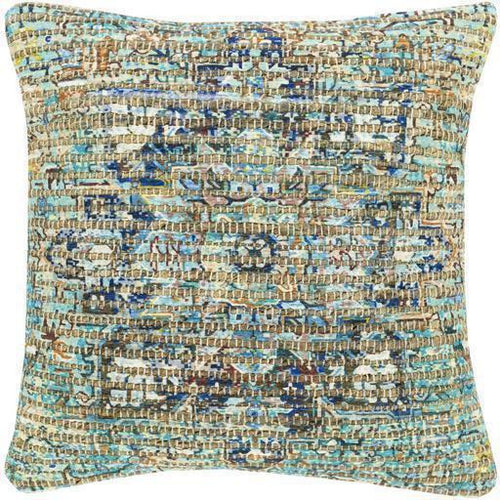 "Surya Coventry CVN-004 Jute Global Pillow-Pillows-Surya-Aqua-18"" x 18"" Pillow-Heaven's Gate Home"