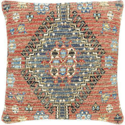 "Surya Coventry CVN-005 Jute Global Pillow-Pillows-Surya-Red-18"" x 18"" Pillow-Heaven's Gate Home"