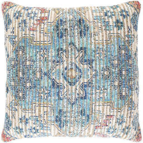 "Surya Coventry CVN-009 Jute Global Pillow-Pillows-Surya-Aqua-26"" x 26"" Pillow-Heaven's Gate Home"