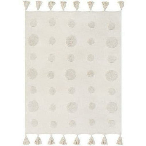 "Surya Dove DOV-1000 Woven 100% Cotton Throw-Throws-Surya-Ivory-50"" x 60"" Throw-Heaven's Gate Home"