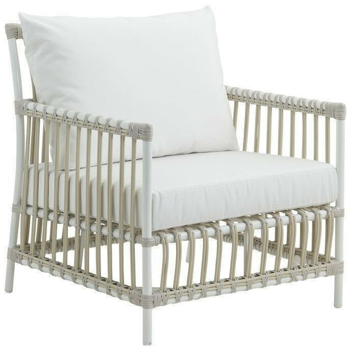 Sika-Design Exterior Caroline Lounge Chair w/ Cushion, Outdoor-Lounge Chairs-Sika Design-Dove White-Tempotest White Canvas Seat and Back Cushion-Heaven's Gate Home